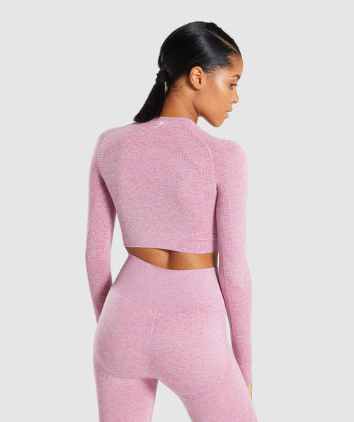 Gymshark Vital Long Sleeve Crop Top - Dusky Pink Marl 1