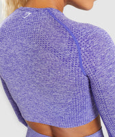 Gymshark Vital Long Sleeve Crop Top - Indigo Marl 12