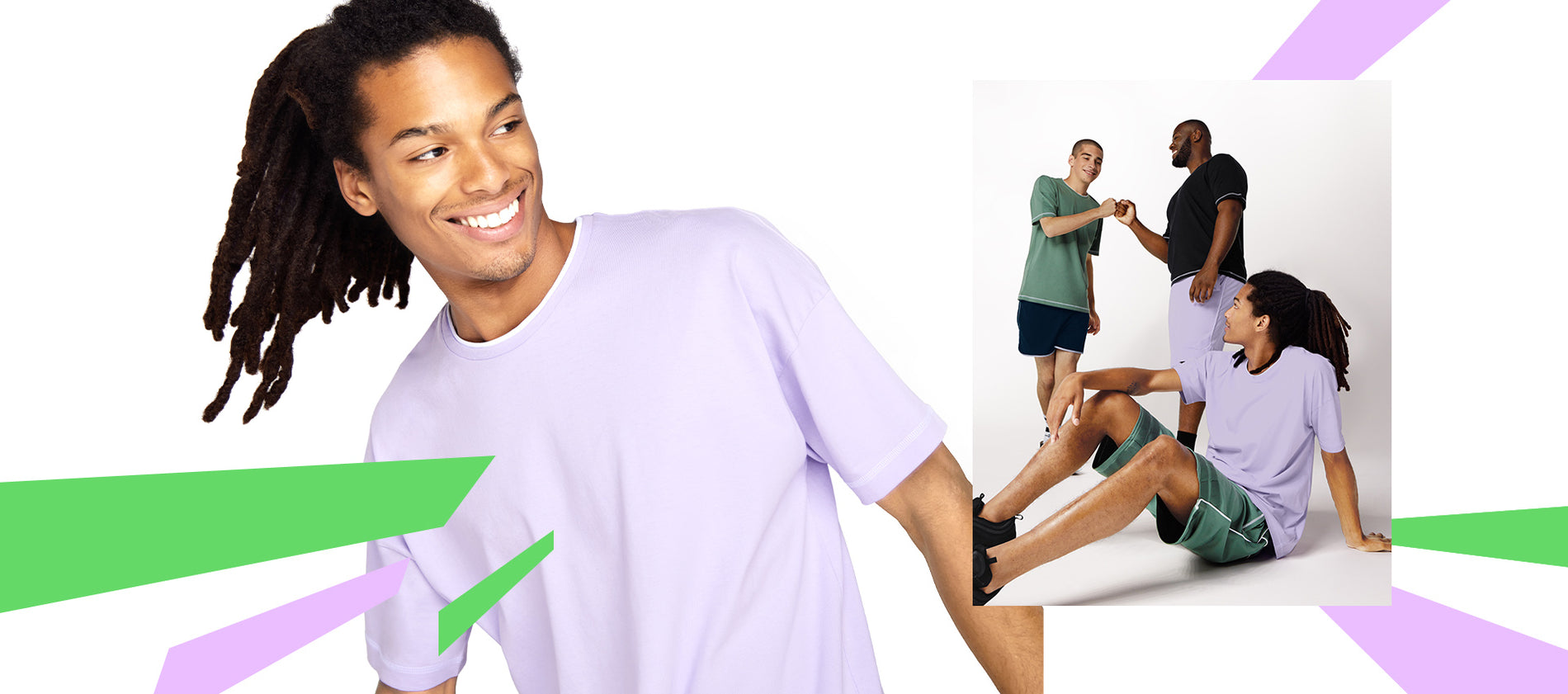 Models wearing the new Recess collection in Green and Purple.