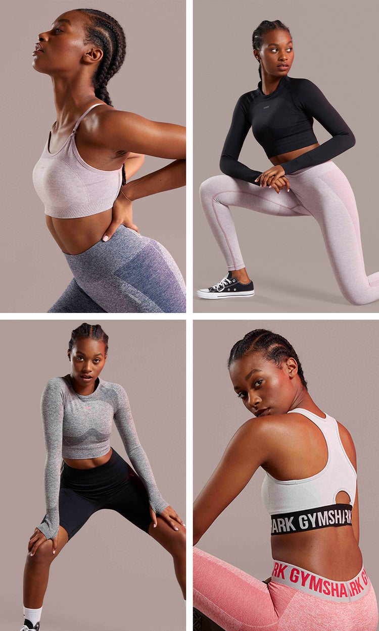 Collage of a model posing in different outfits from the Flex Collection.