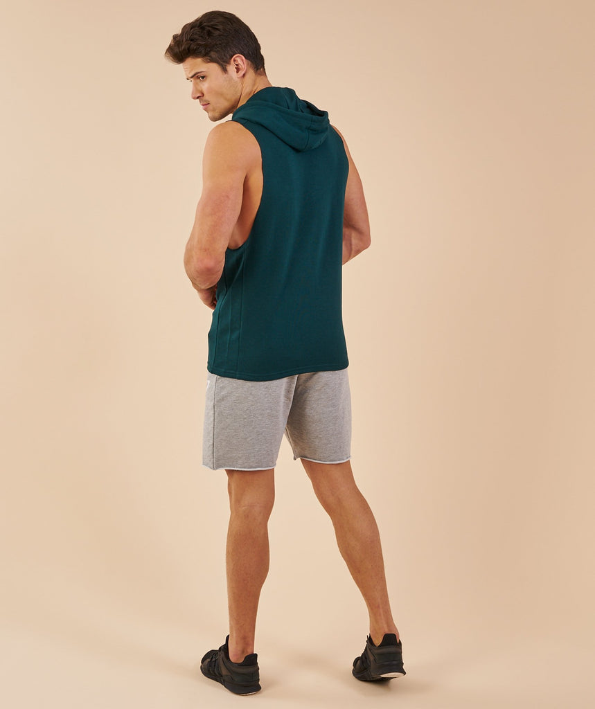 Gymshark Drop Arm Sleeveless Hoodie - Forest Green 2