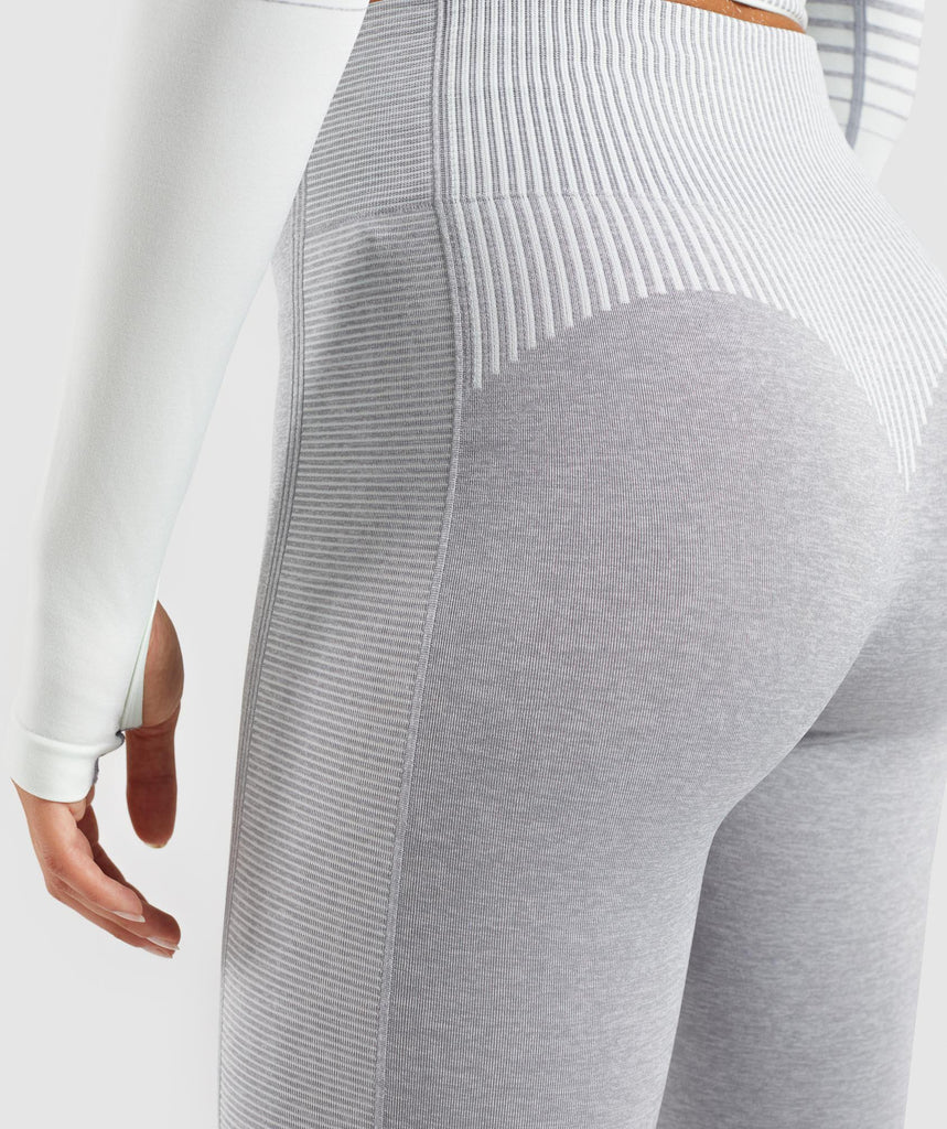 Gymshark Amplify Seamless Leggings - Light Grey Marl/Sea Foam Green 5