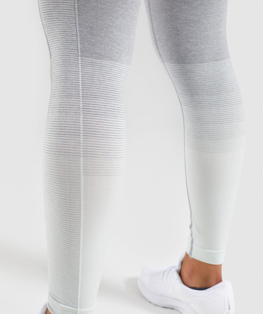 Gymshark Amplify Seamless Leggings - Light Grey Marl/Sea Foam Green 6