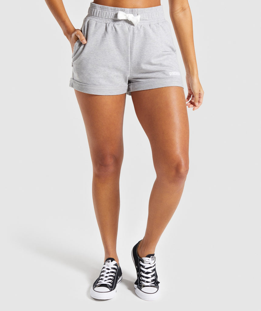 Gymshark Ark High Waisted Shorts - Light Grey Marl 1