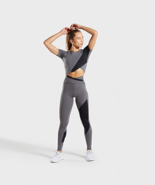 Gymshark Asymmetric Crop Top - Smokey Grey/Black 3