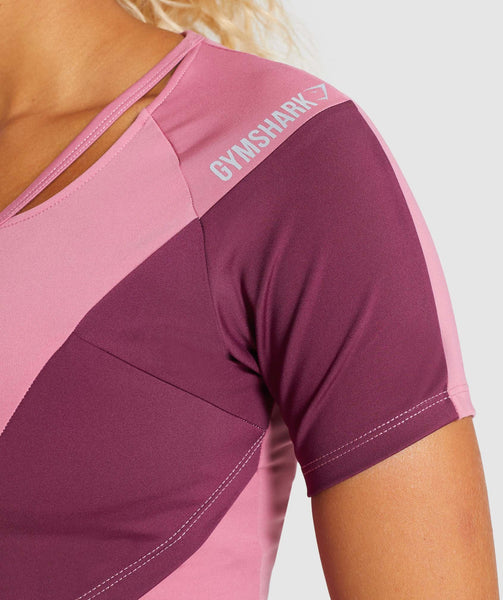 Gymshark Asymmetric Crop Top - Dusky Pink/Dark Ruby 4