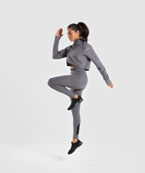 Gymshark Asymmetric Performance Hoodie - Smokey Grey/Black 3