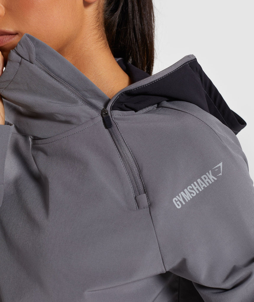 Gymshark Asymmetric Performance Hoodie - Smokey Grey/Black 5