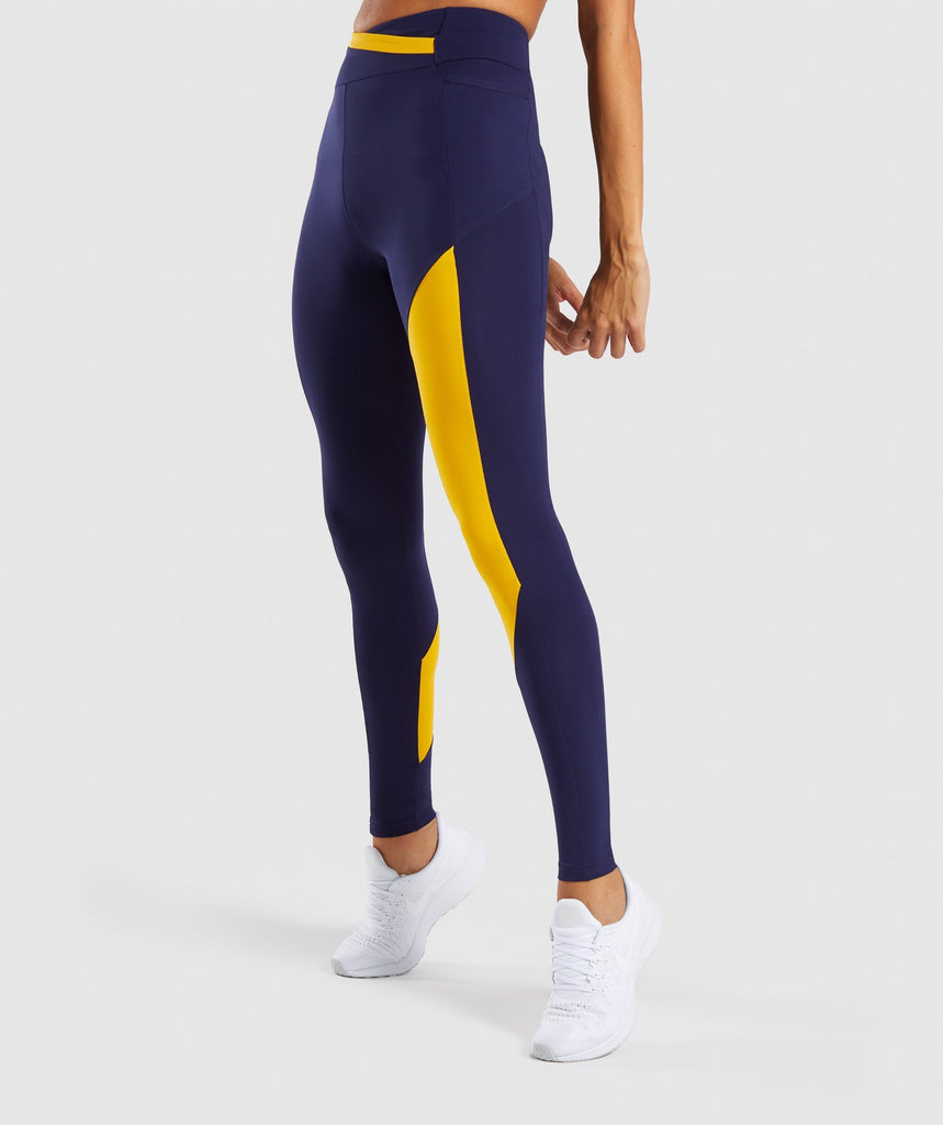 Gymshark Asymmetric Leggings - Evening Navy Blue/Citrus Yellow 1