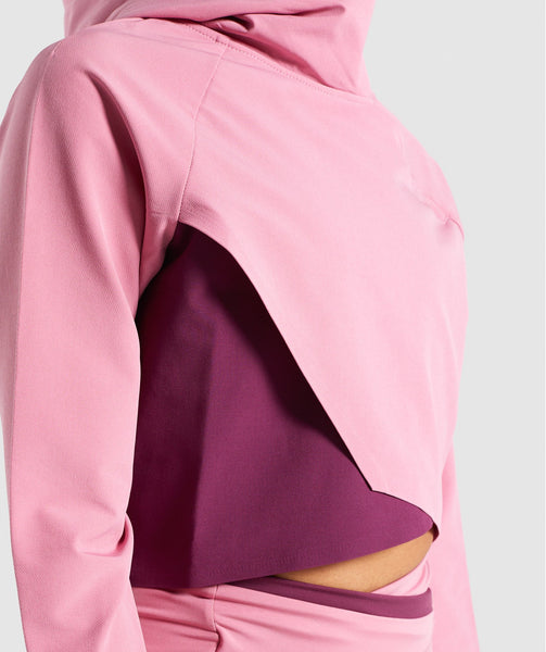 Gymshark Asymmetric Performance Hoodie - Dusky Pink/Dark Ruby 4