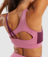 Gymshark Asymmetric Sports Bra - Dusky Pink/Dark Ruby 11