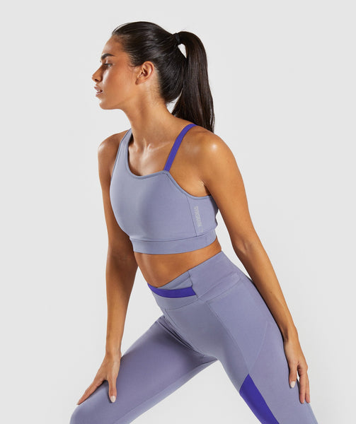Gymshark Asymmetric Sports Bra - Steel Blue/Indigo 1