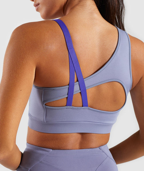 Gymshark Asymmetric Sports Bra - Steel Blue/Indigo 3