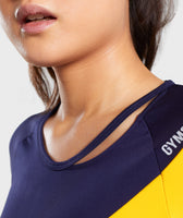 Gymshark Asymmetric Crop Top - Evening Navy Blue/Citrus Yellow 12