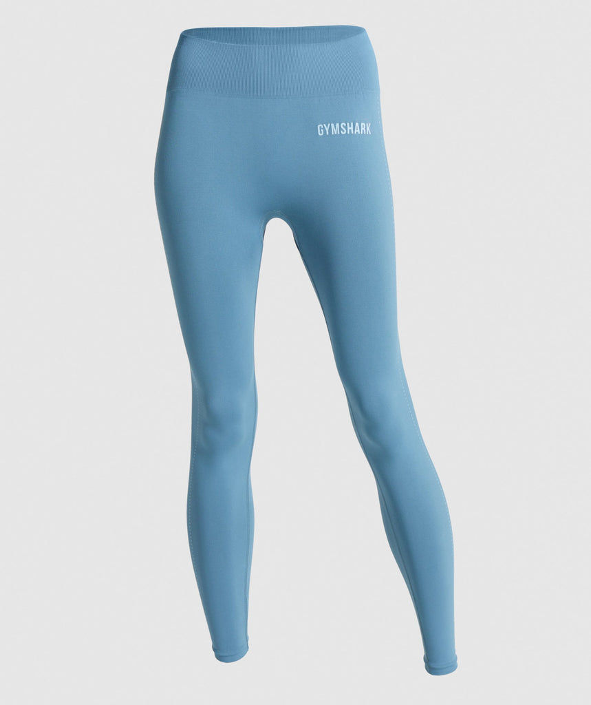 Gymshark Breeze Lightweight Seamless Tights - Blue Stone 1