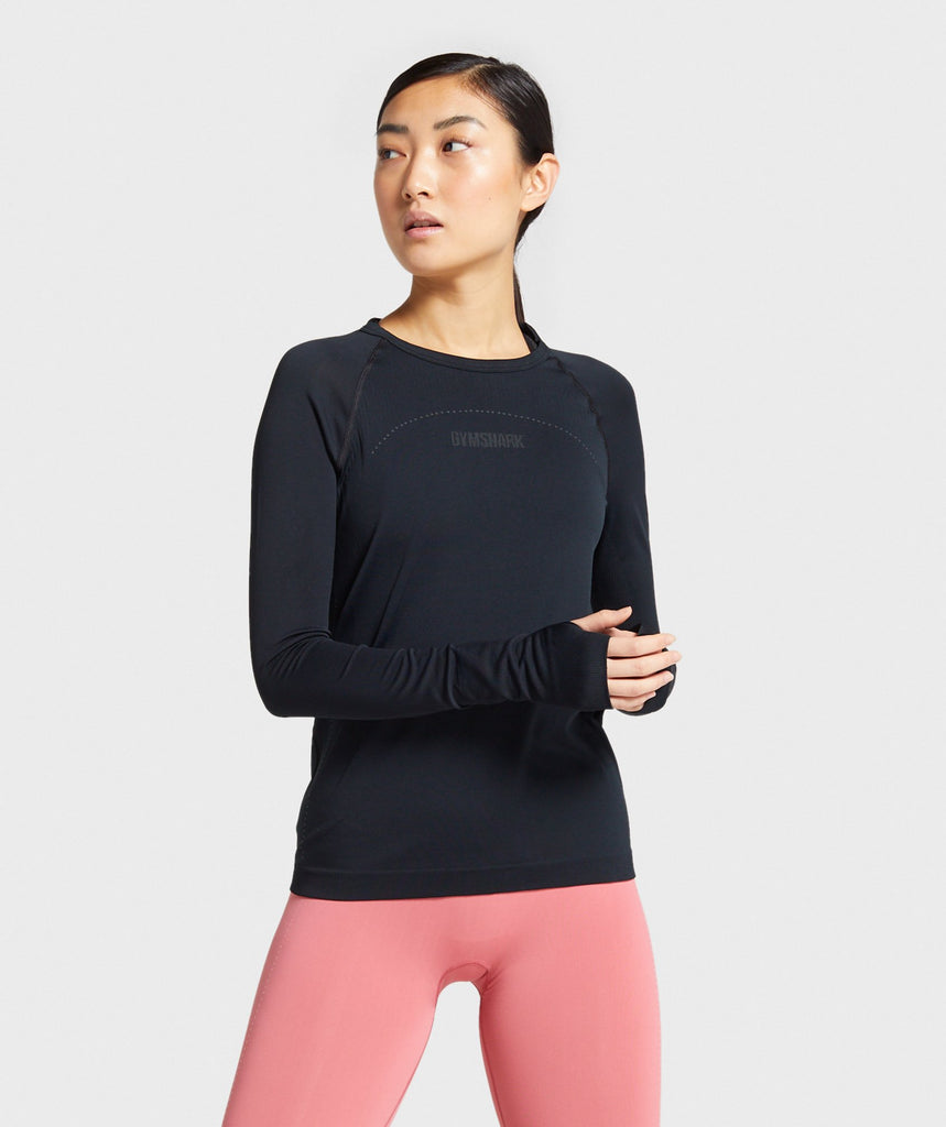 Gymshark Lightweight Seamless Long Sleeve Top - Black 1