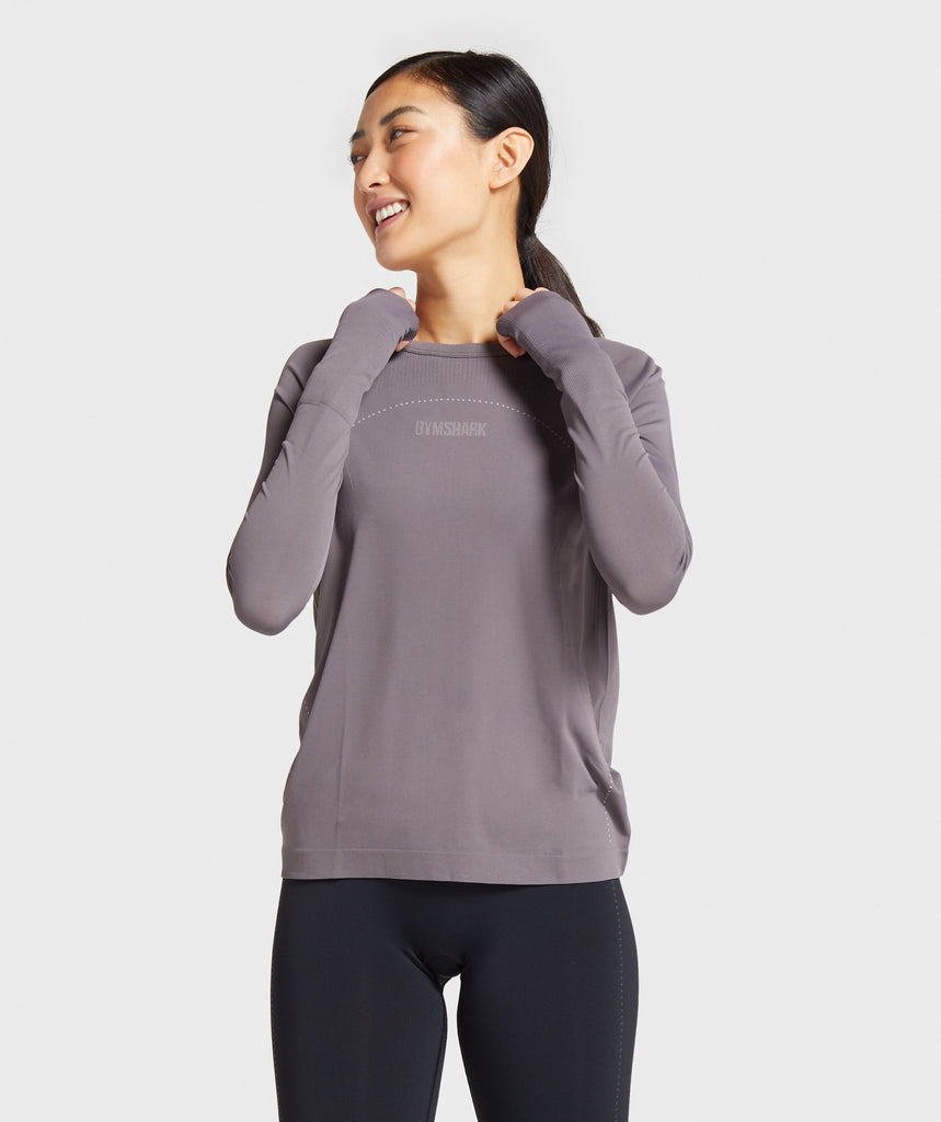 Gymshark Lightweight Seamless Long Sleeve Top - Slate Lavender 1