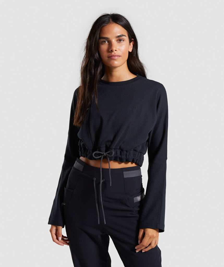 Gymshark Box Utility Cropped Sweater- Black 1
