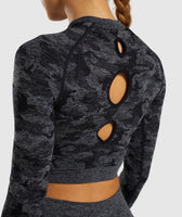 Gymshark Camo Seamless Long Sleeve Crop Top - Black 12