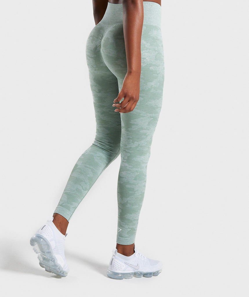 closer at variety of designs and colors nice cheap Gymshark Camo Seamless Leggings - Sage Green