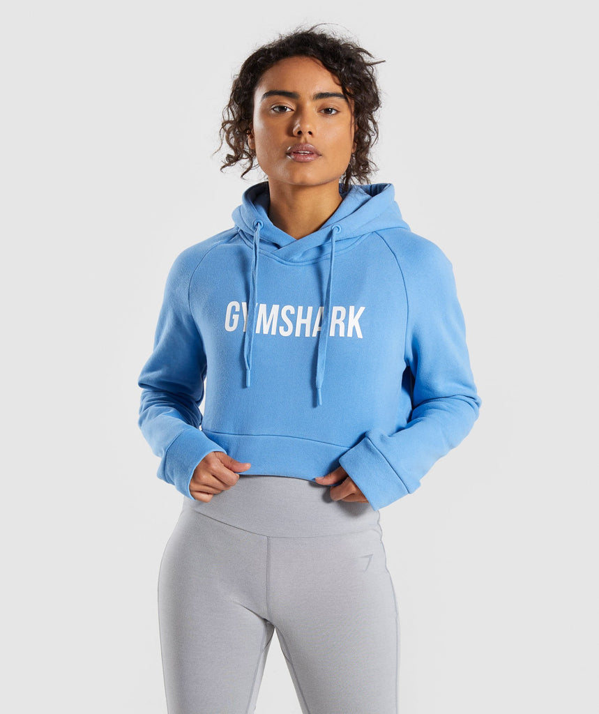 Gymshark Cropped Crest Hoodie - Blue 1