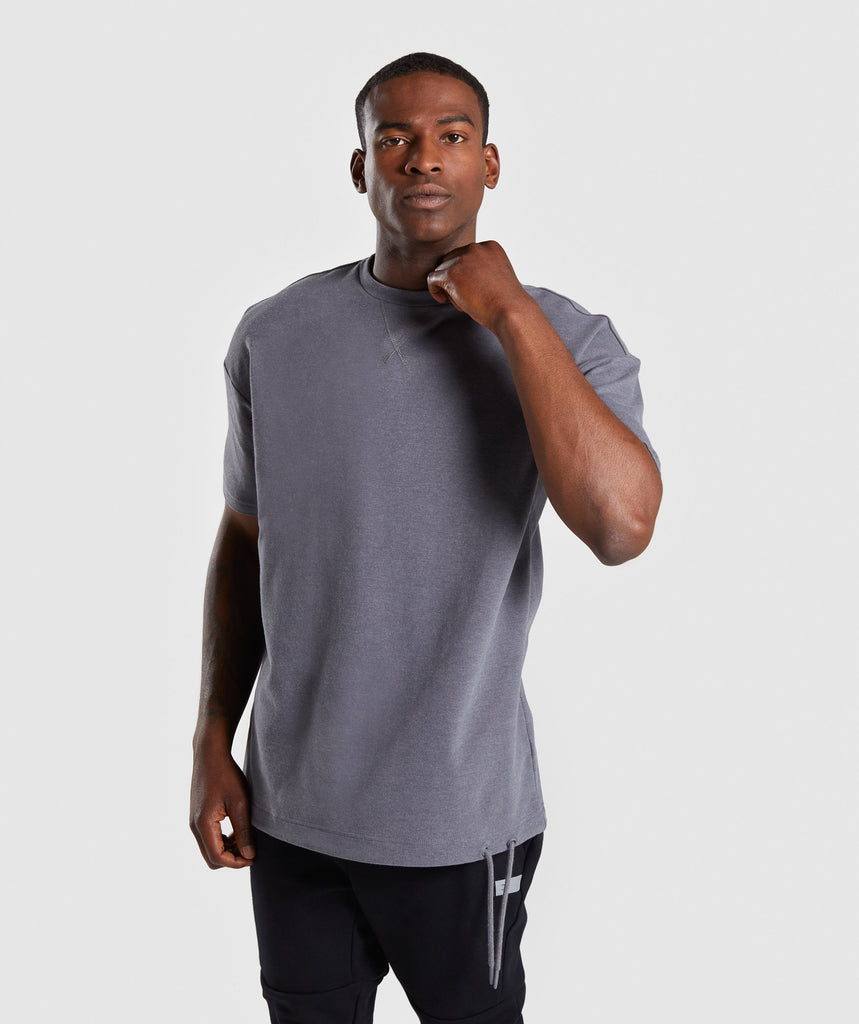 Gymshark Drawcord Sweat T-Shirt - Smokey Grey Marl 1
