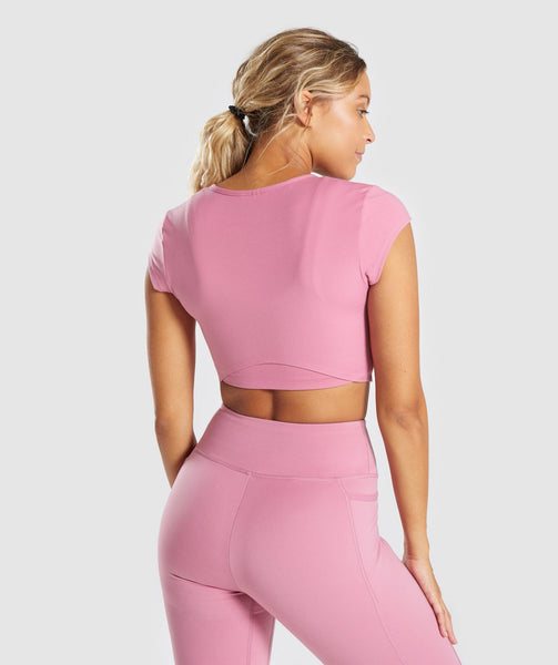 Gymshark Dreamy Cap Sleeve Crop Top - Dusky Pink 4