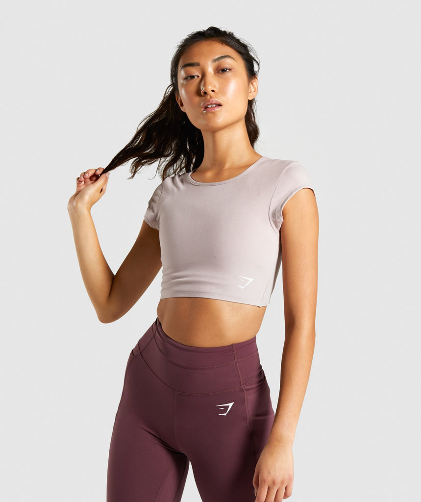 Gymshark Dreamy Cap Sleeve Crop Top - Taupe/White 1