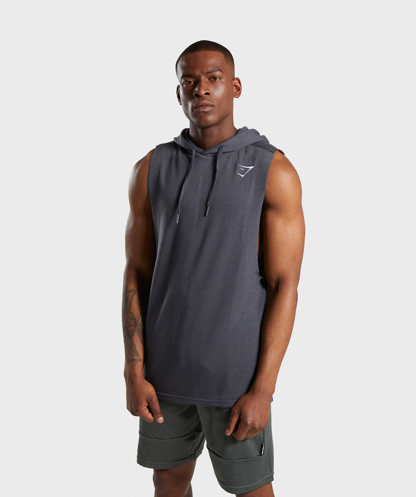 Gymshark Drop Arm Sleeveless Hoodie - Charcoal Marl 1