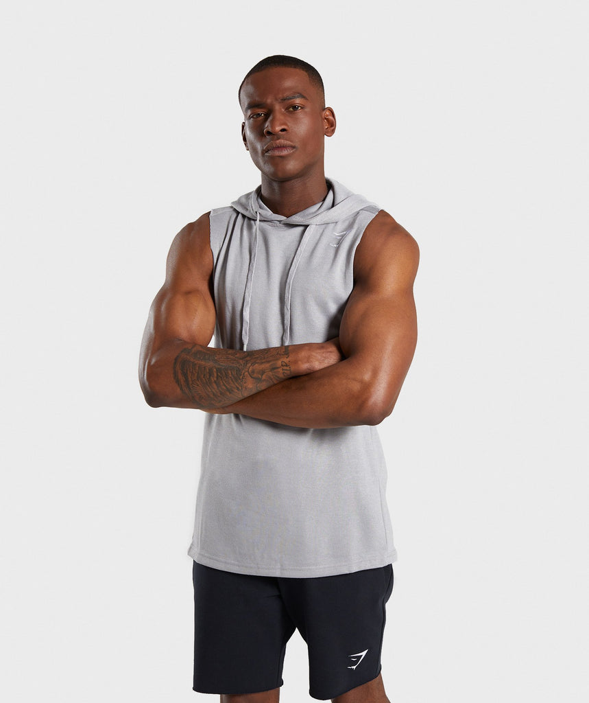 Gymshark Drop Arm Sleeveless Hoodie - Light Grey Marl 1