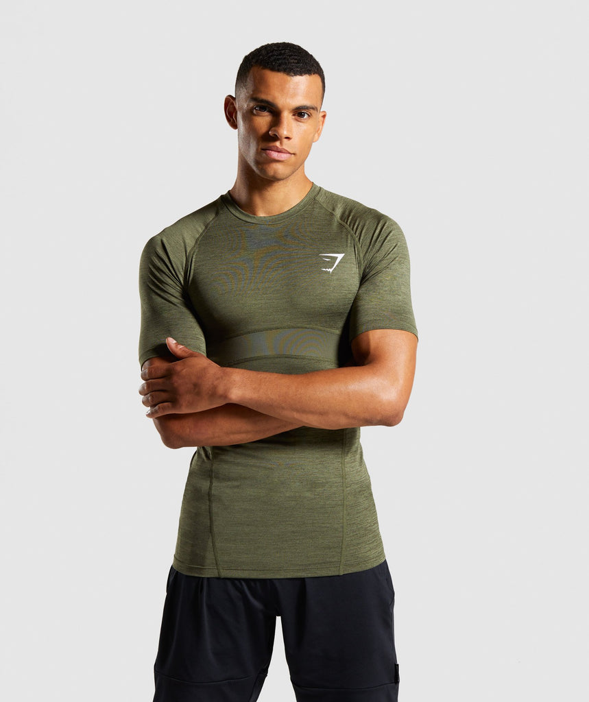 Gymshark Element+ Baselayer T-Shirt - Dark Green Marl 1