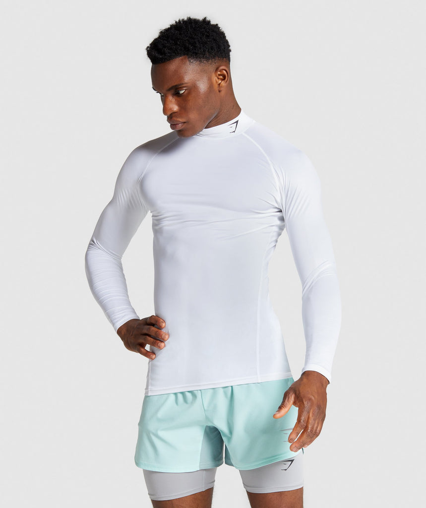 Gymshark Element Baselayer Long Sleeve High Neck T-shirt - White 1