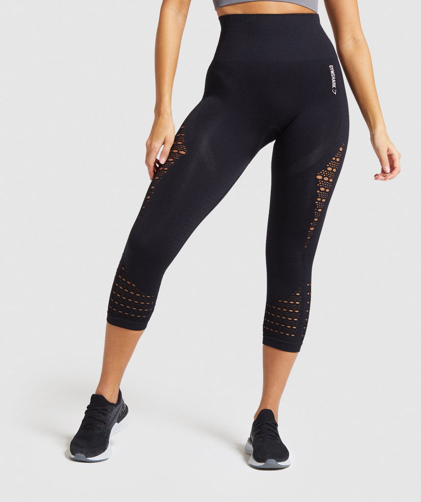 Gymshark Energy+ Seamless Cropped Leggings - Black 1