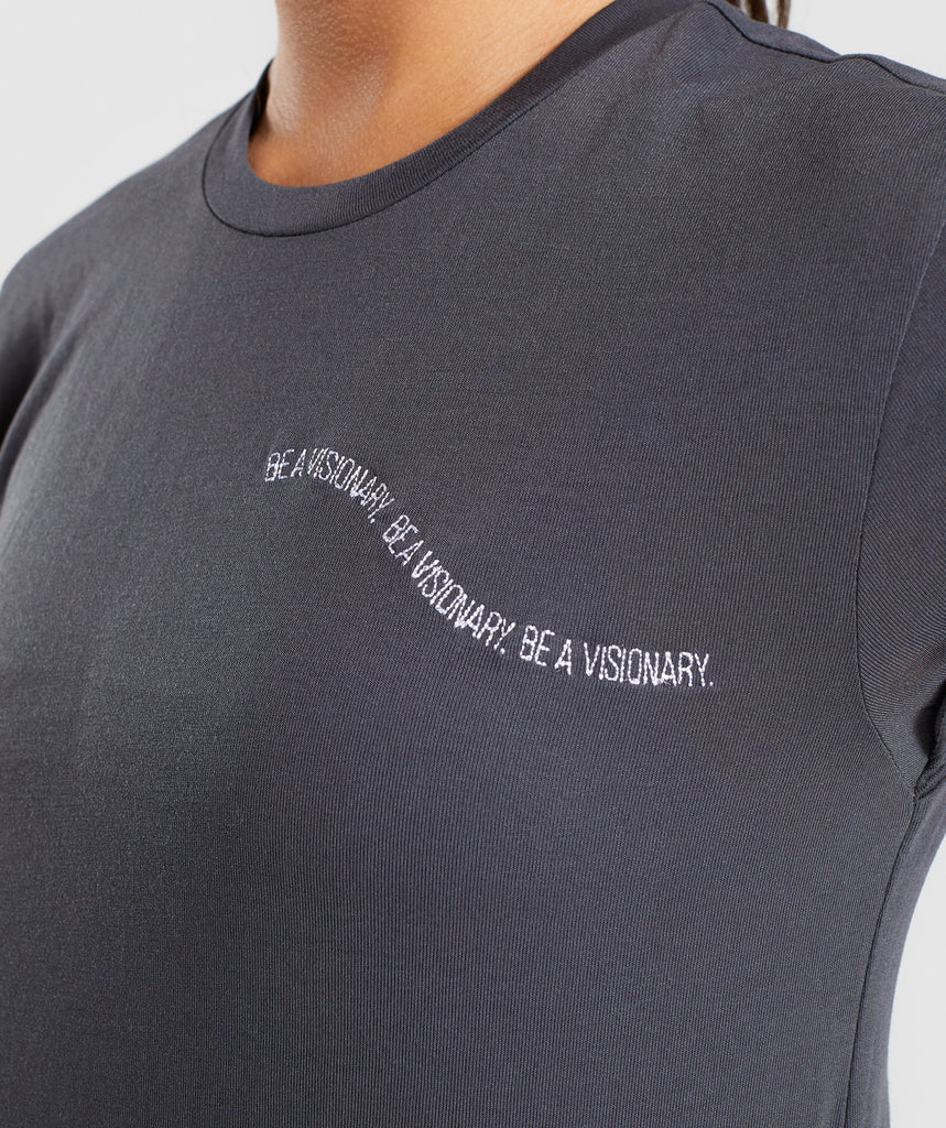 Gymshark Essential Be A Visionary Tee - Charcoal/White 6