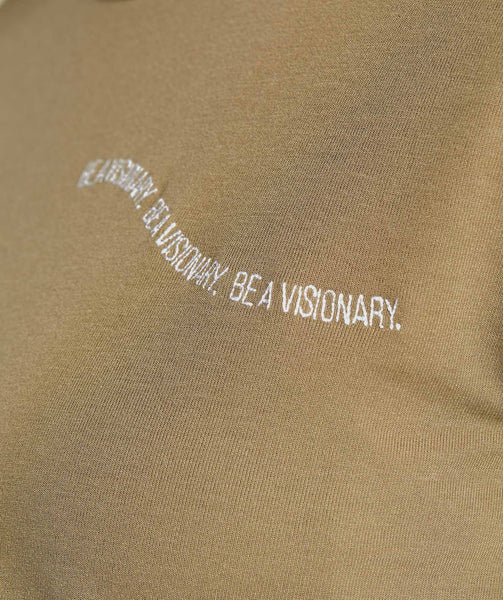 Gymshark Essential Be A Visionary Tee - Washed Khaki/White 4