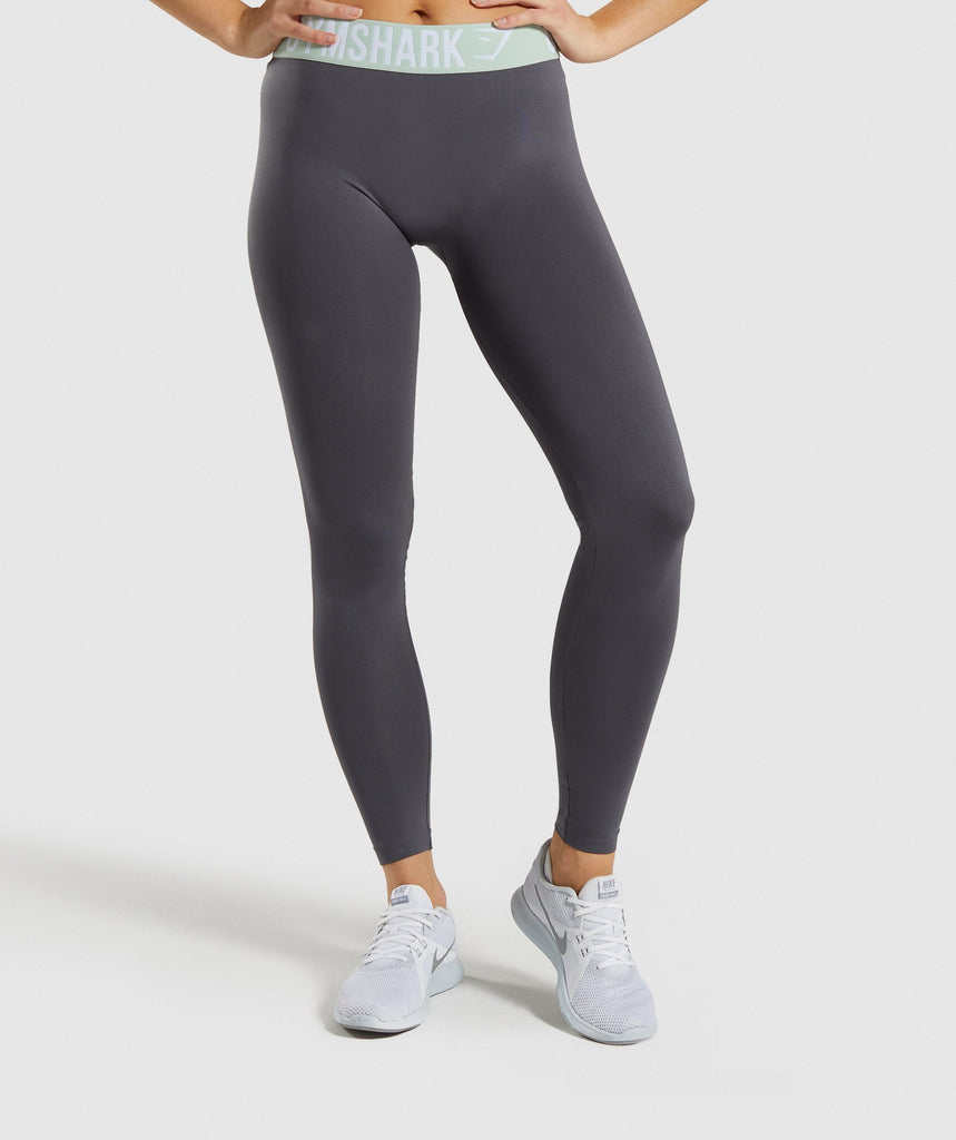 Gymshark Fit Leggings - Grey/Light Green 1