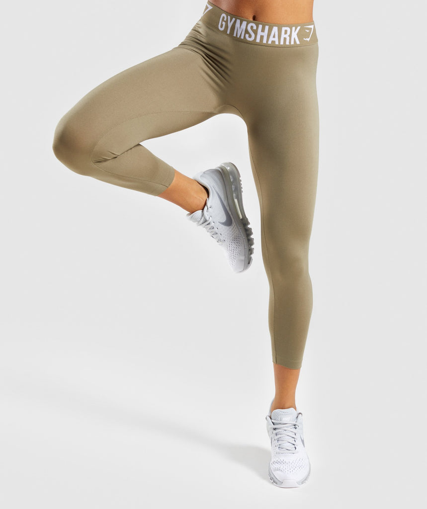 Gymshark Fit Cropped Leggings - Washed Khaki/White 1
