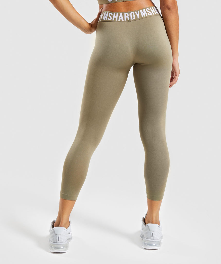 Gymshark Fit Cropped Leggings - Washed Khaki/White 2