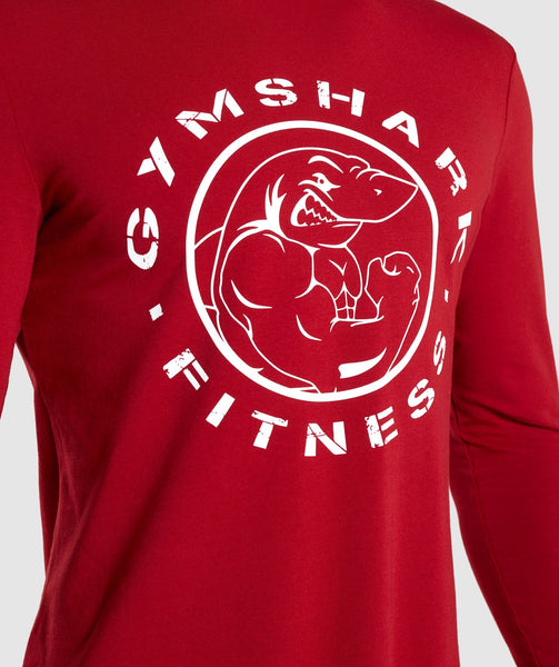 Gymshark Legacy Long Sleeve T-Shirt - Full Red 4