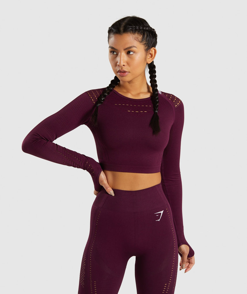 Gymshark Flawless Knit Long Sleeve Crop Top - Ruby 1