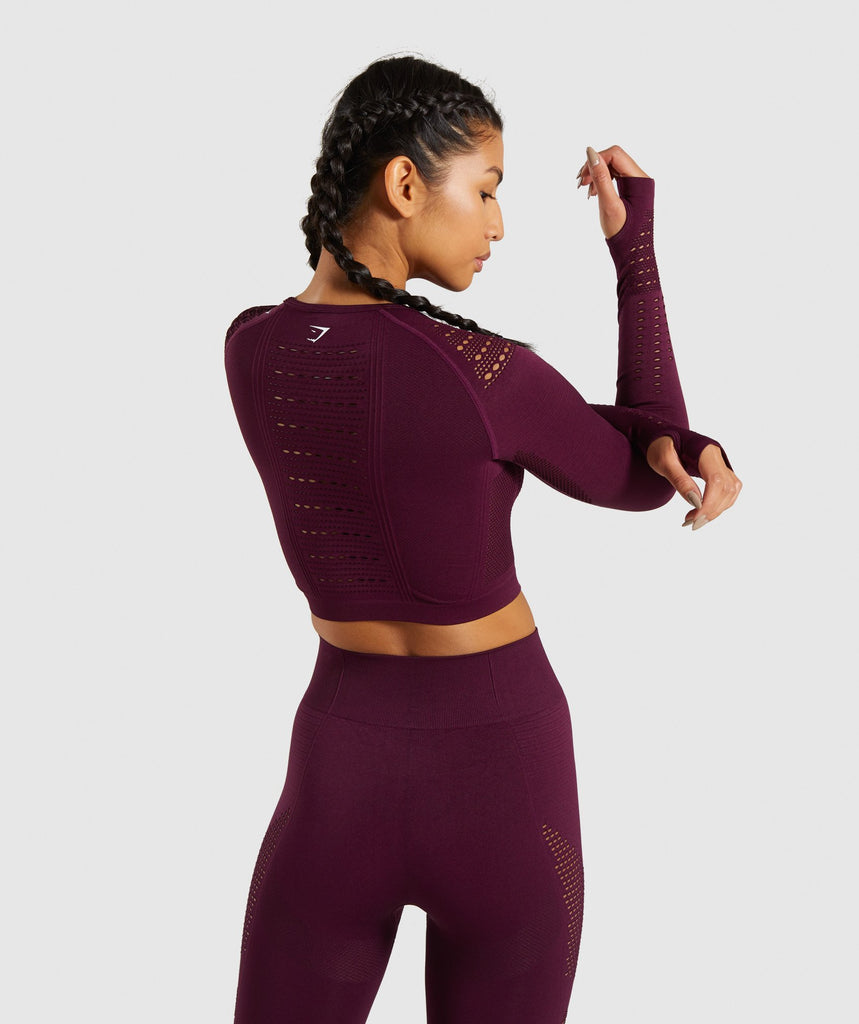 Gymshark Flawless Knit Long Sleeve Crop Top - Ruby 2