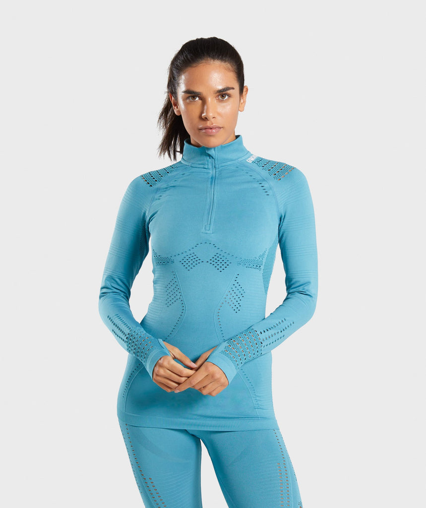 Gymshark Flawless 1/2 Zip Up Pullover - Teal 1