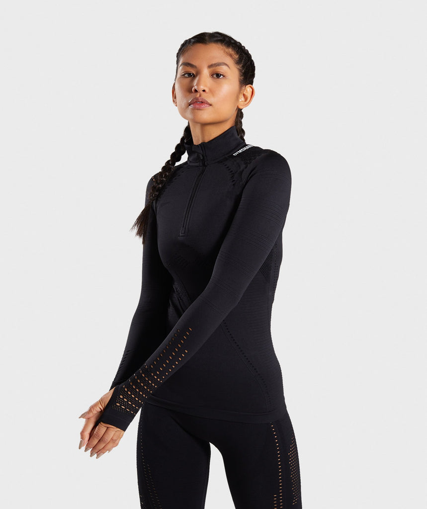 Gymshark Flawless 1/2 Zip Up Pullover - Black 1
