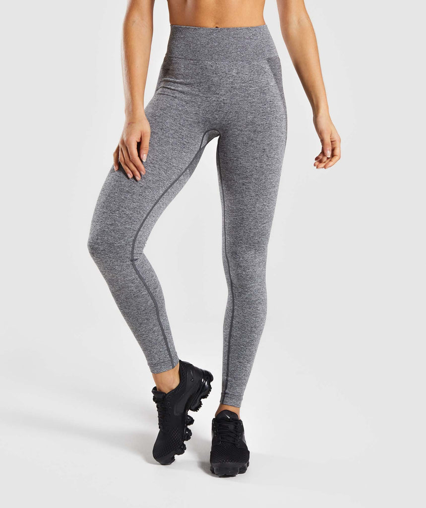 Gymshark Flex High Waisted Leggings - Charcoal Marl/ Dusky Pink 2