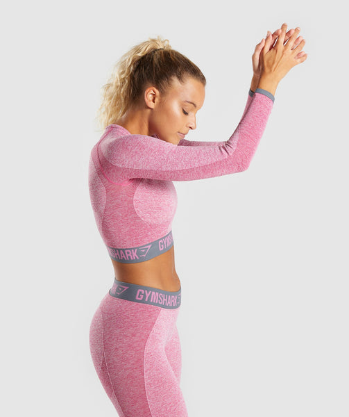 Gymshark Flex Long Sleeve Crop Top - Dusky Pink Marl/Charcoal 2