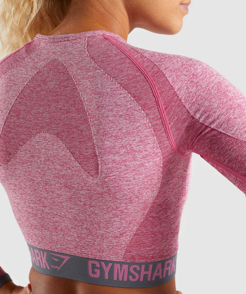 Gymshark Flex Long Sleeve Crop Top - Dusky Pink Marl/Charcoal 3
