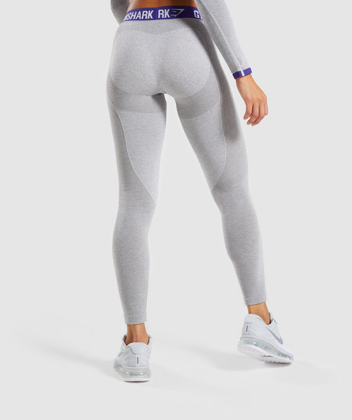 Gymshark Flex Leggings - Light Grey Marl/Indigo 1