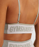 Gymshark Flex Strappy Sports Bra - Washed Khaki Marl/Blush Nude 12