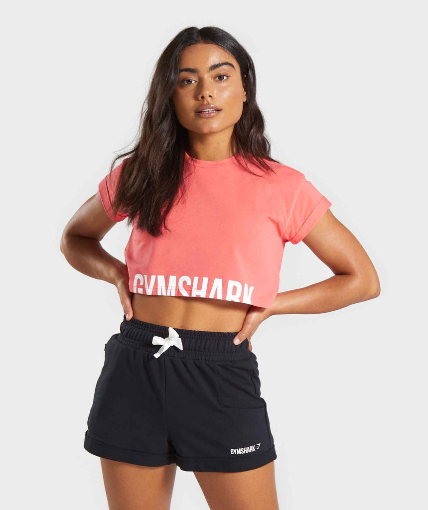 Gymshark Fraction Crop Top - Coral 1