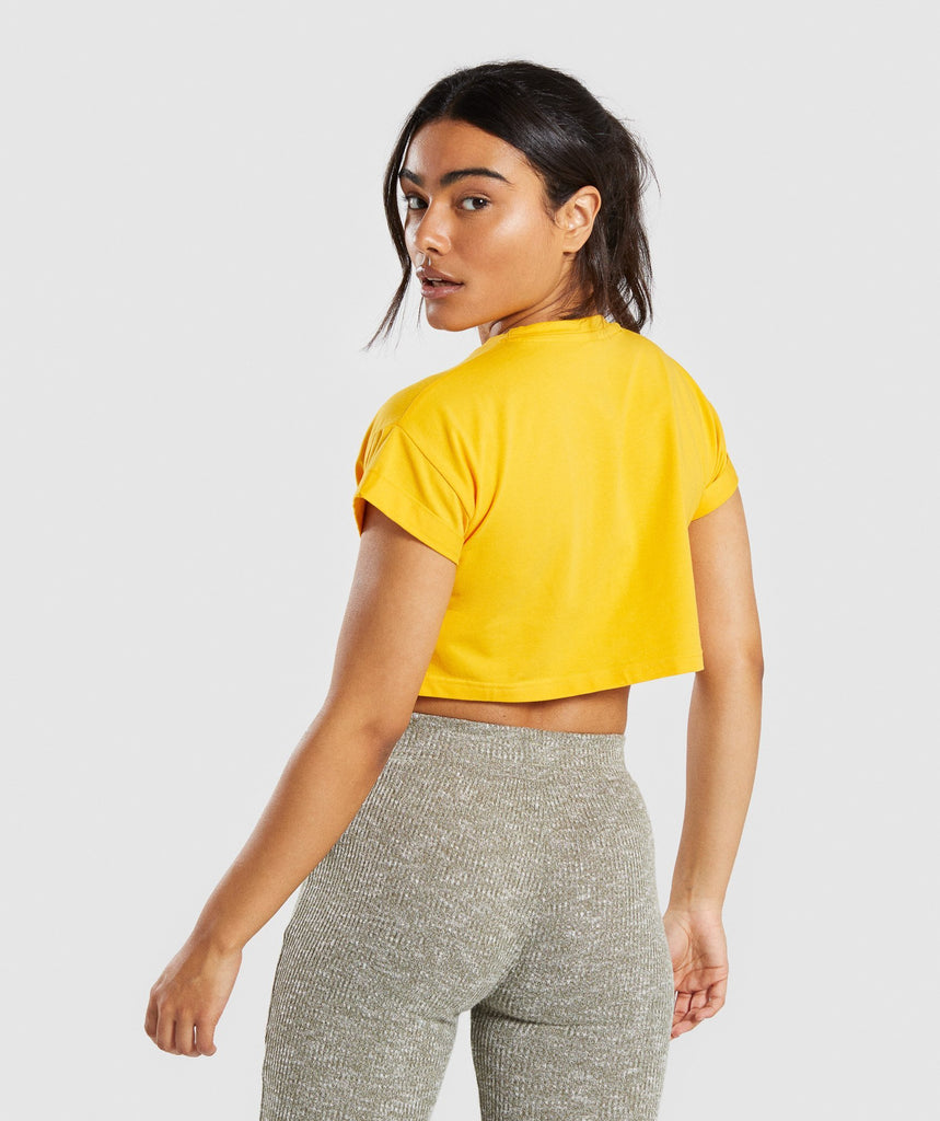 Gymshark Fraction Crop Top - Citrus Yellow/White 2